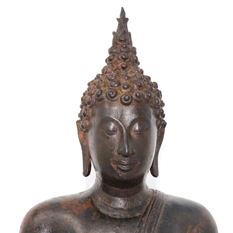Thai Ayutthaya Bronze Seated Buddha Figure, 14th-15th Century For Sale 8