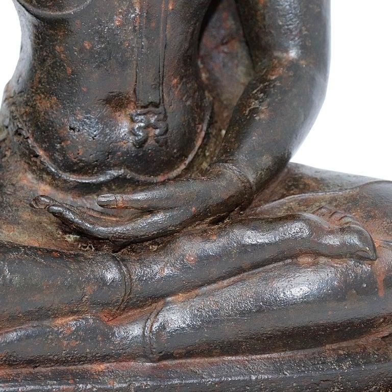 Thai Ayutthaya Bronze Seated Buddha Figure, 14th-15th Century For Sale 10