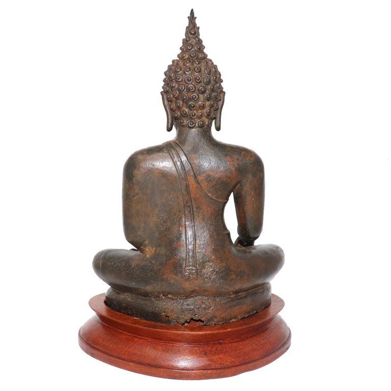 Thai Ayutthaya Bronze Seated Buddha Figure, 14th-15th Century For Sale 1