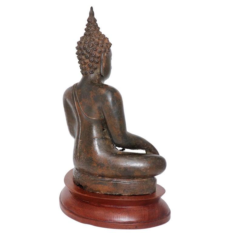 Thai Ayutthaya Bronze Seated Buddha Figure, 14th-15th Century For Sale 2
