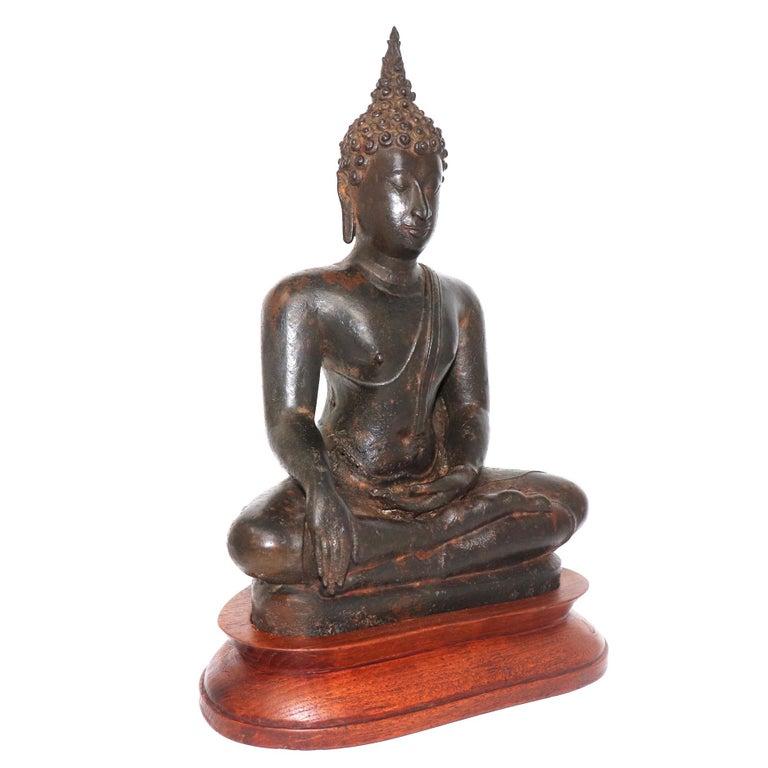 Thai Ayutthaya Bronze Seated Buddha Figure, 14th-15th Century For Sale 4