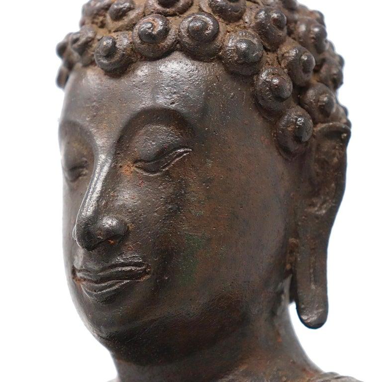 Thai Ayutthaya Bronze Seated Buddha Figure, 14th-15th Century For Sale 5
