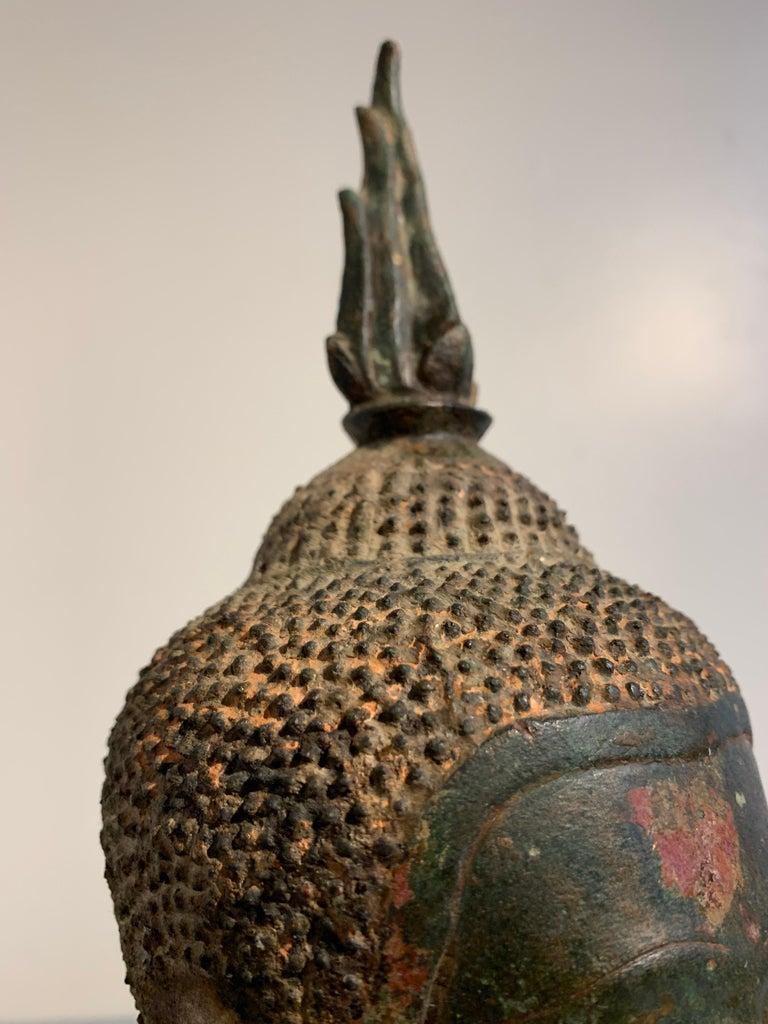 Thai Bronze Buddha Head, Ayutthaya Kingdom, U-Thong a Style, 14th Century For Sale 6
