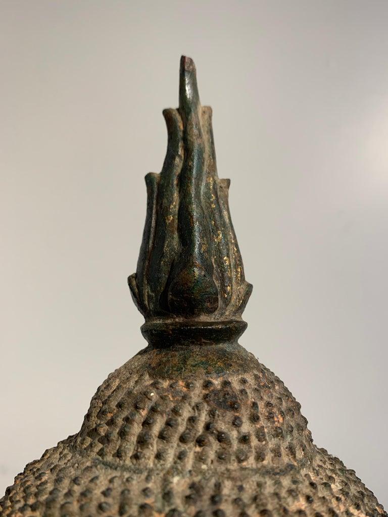 Thai Bronze Buddha Head, Ayutthaya Kingdom, U-Thong a Style, 14th Century For Sale 7