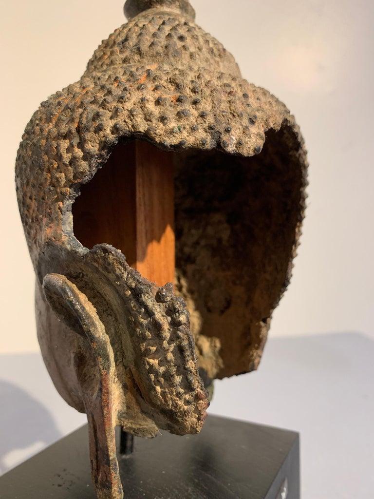 Thai Bronze Buddha Head, Ayutthaya Kingdom, U-Thong a Style, 14th Century For Sale 8