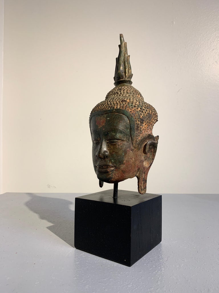 Cast Thai Bronze Buddha Head, Ayutthaya Kingdom, U-Thong a Style, 14th Century For Sale