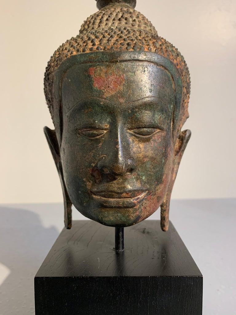 Thai Bronze Buddha Head, Ayutthaya Kingdom, U-Thong a Style, 14th Century For Sale 3
