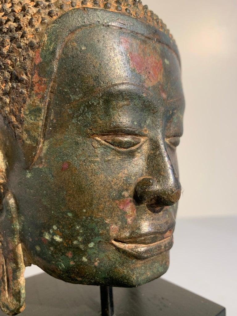 Thai Bronze Buddha Head, Ayutthaya Kingdom, U-Thong a Style, 14th Century For Sale 4
