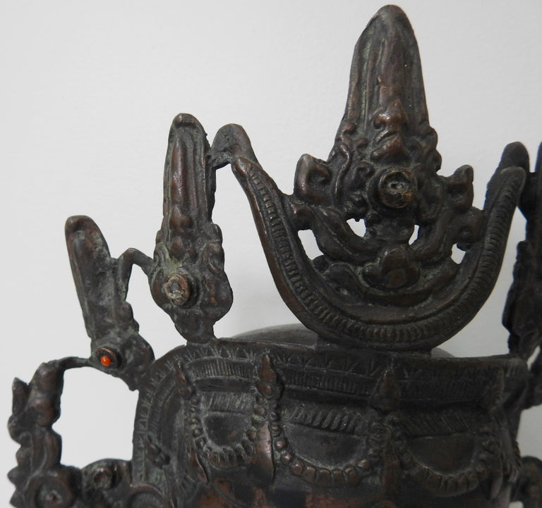 Thai Bronze Buddha Head from India, Vintage For Sale 5