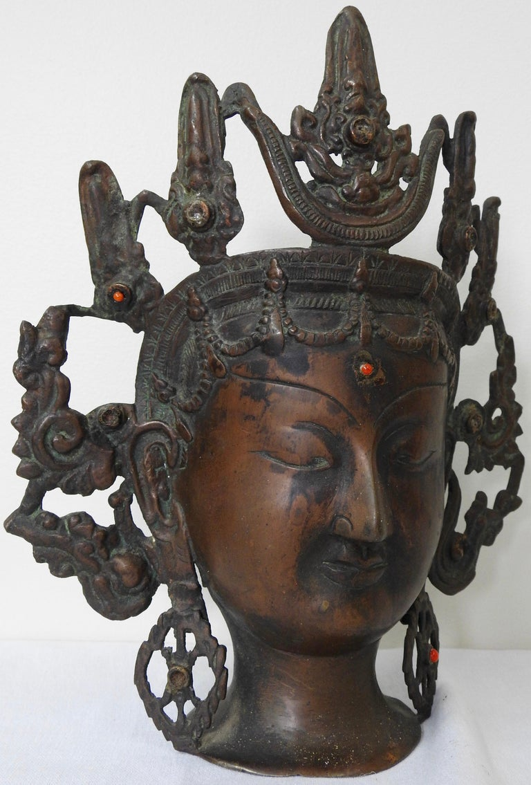 Thai Bronze Buddha Head from India, Vintage For Sale 6