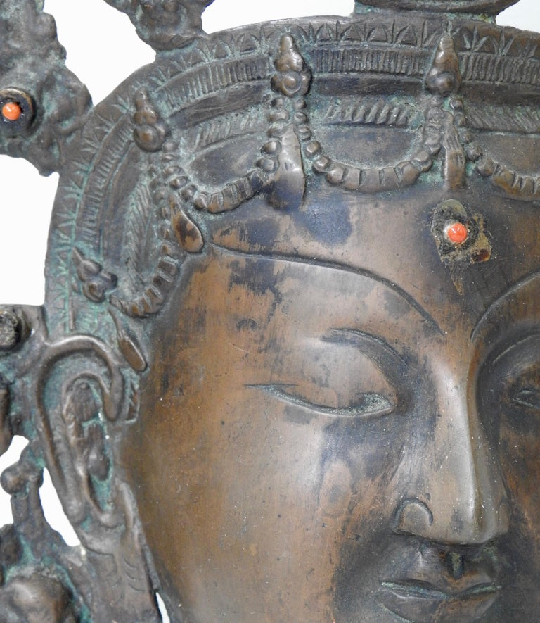 Thai Bronze Buddha Head from India, Vintage For Sale 7