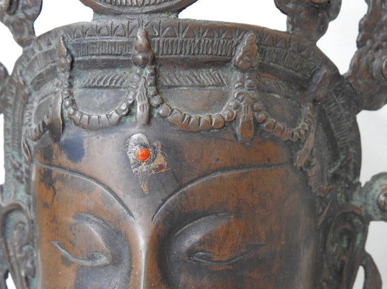 Thai Bronze Buddha Head from India, Vintage For Sale 8
