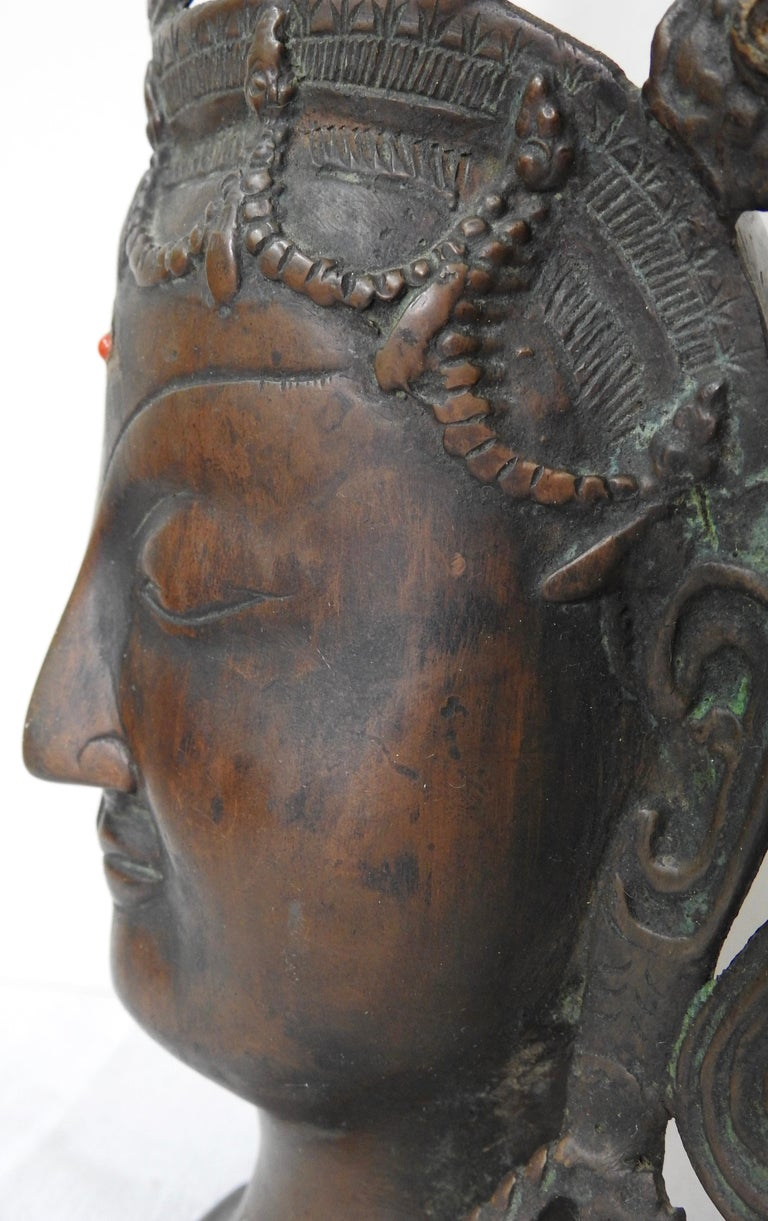 Thai Bronze Buddha Head from India, Vintage For Sale 9