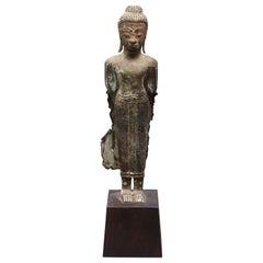 Thai Bronze Gautama Buddha Figure in Abhaya Mudra