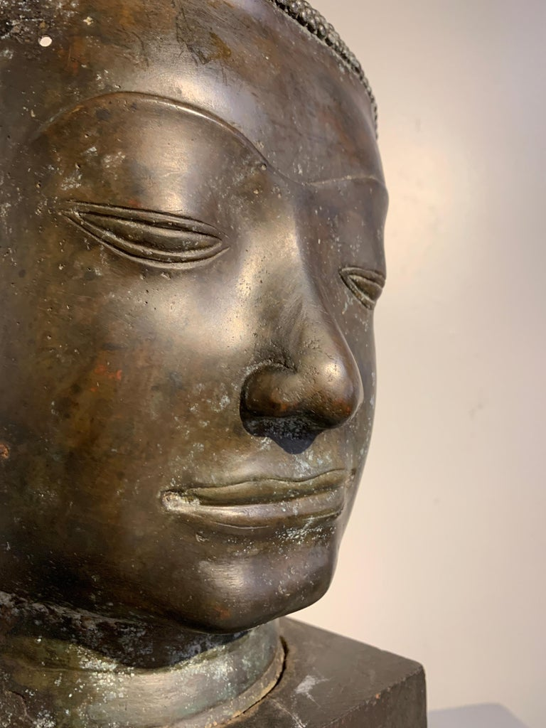 Thai Bronze Head of the Buddha, Ayutthaya U-Thong Style, 14th-15th Century For Sale 8