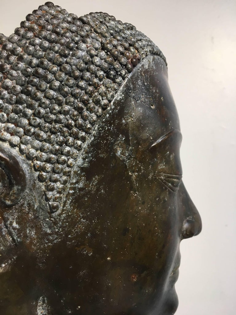 Thai Bronze Head of the Buddha, Ayutthaya U-Thong Style, 14th-15th Century For Sale 10
