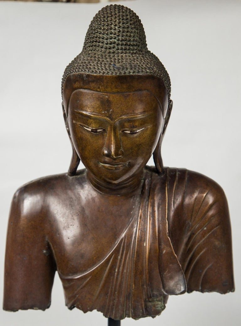 Hand-Crafted Burmese Bronze Head of the Buddha For Sale