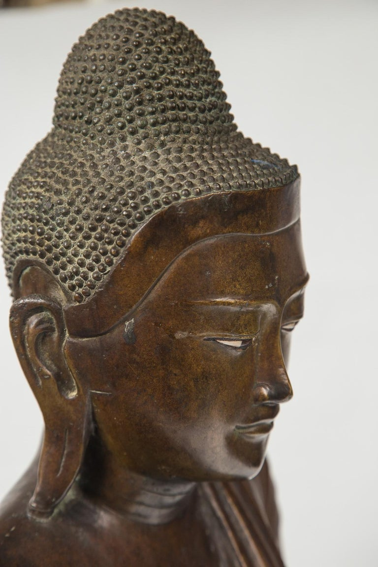 20th Century Burmese Bronze Head of the Buddha For Sale
