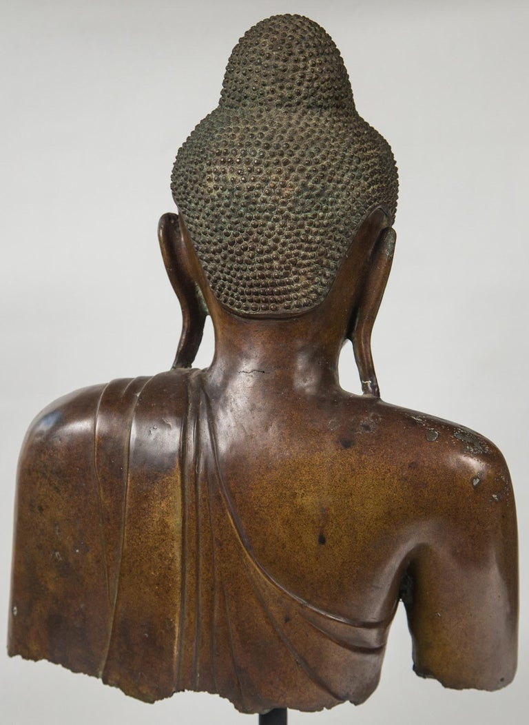 Burmese Bronze Head of the Buddha For Sale 1