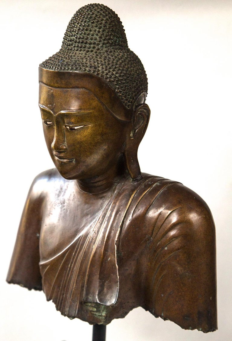 Burmese Bronze Head of the Buddha For Sale 3