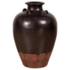 Thai Brownware Monochrome Water Jar with Carrying Handles, Early 20th Century