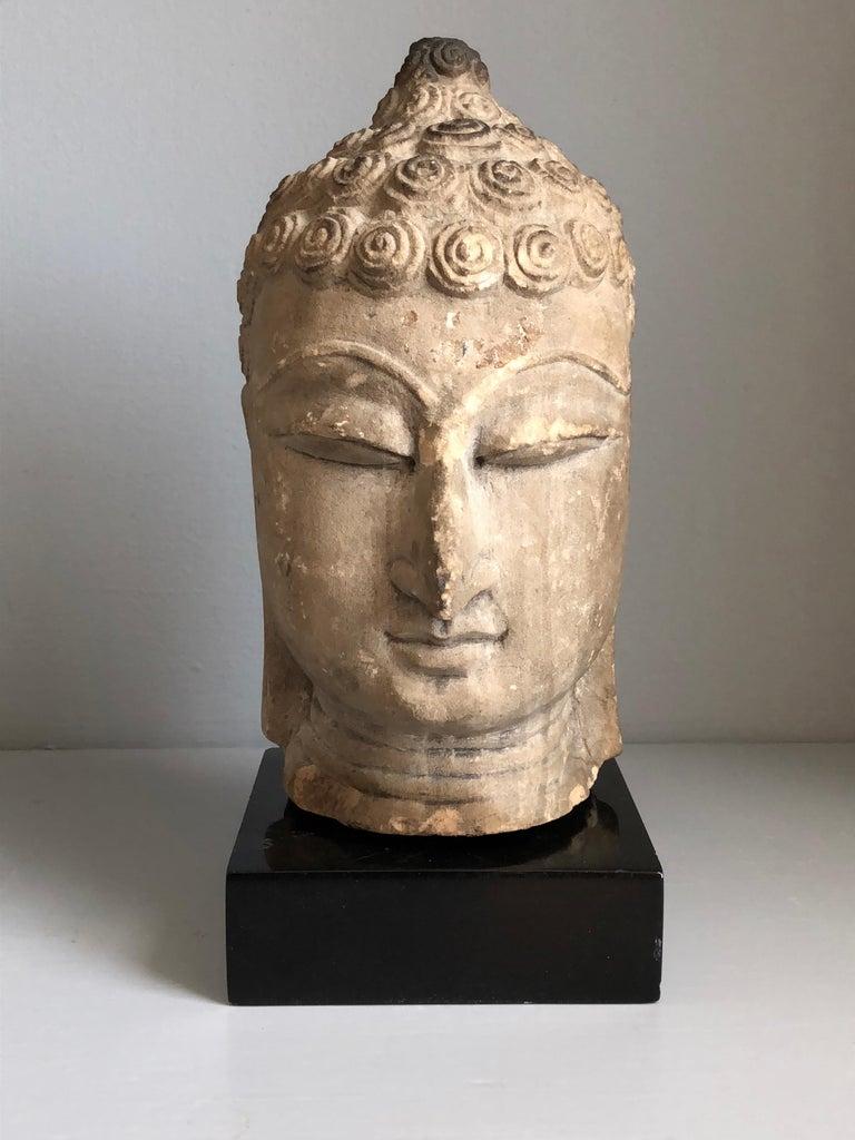 Archaistic Thai Buddha Head, Ayutthaya Period