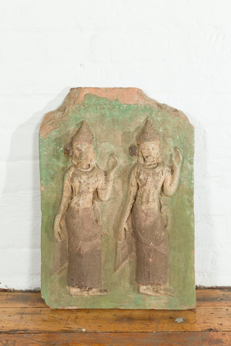 Thai Carved Stone Green Painted Temple Wall Plaque Depicting Ceremonial Dancers In Good Condition For Sale In Yonkers, NY
