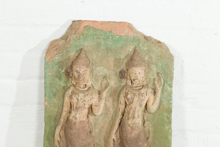 19th Century Thai Carved Stone Green Painted Temple Wall Plaque Depicting Ceremonial Dancers For Sale