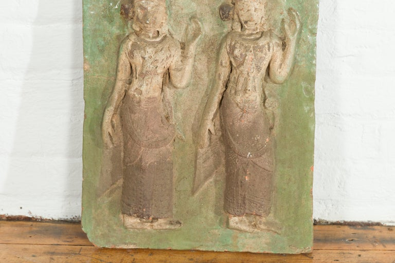 Thai Carved Stone Green Painted Temple Wall Plaque Depicting Ceremonial Dancers For Sale 1