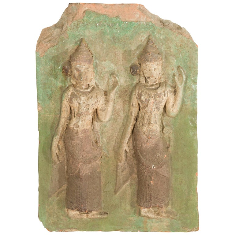 Thai Carved Stone Green Painted Temple Wall Plaque Depicting Ceremonial Dancers For Sale