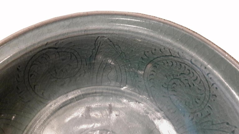 Thai Celadon Plate, Late 19th Century In Good Condition For Sale In New York, NY