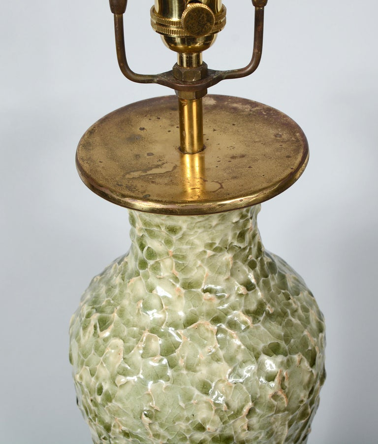 Thai Celadon Table Lamp with Textured Surface In Good Condition For Sale In San Mateo, CA