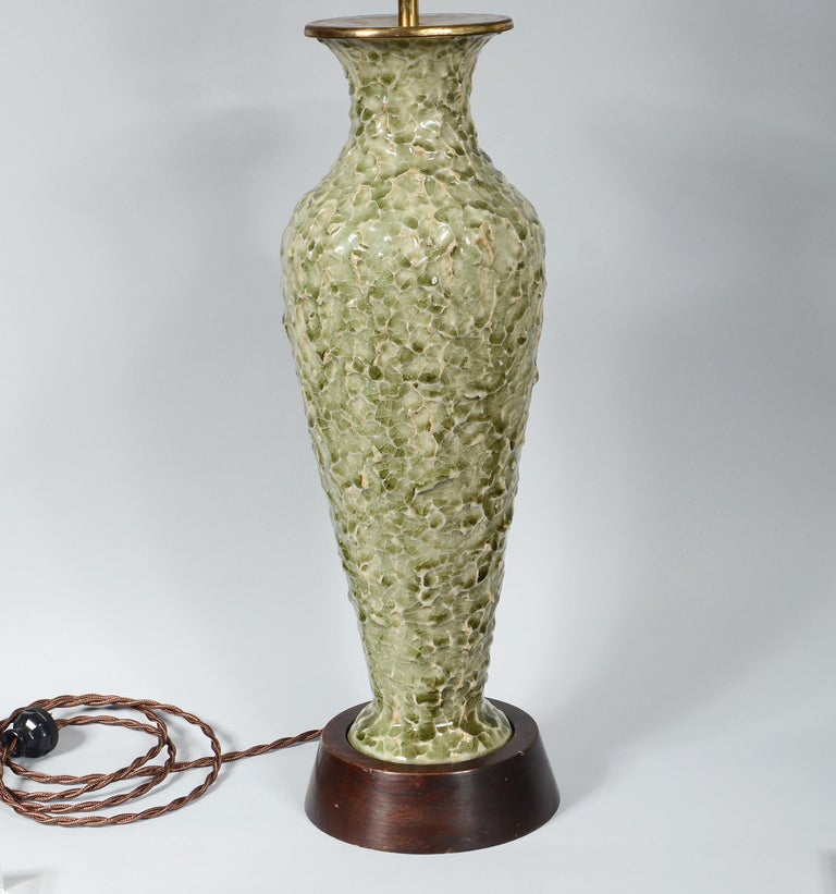 Thai Celadon Table Lamp with Textured Surface For Sale 2