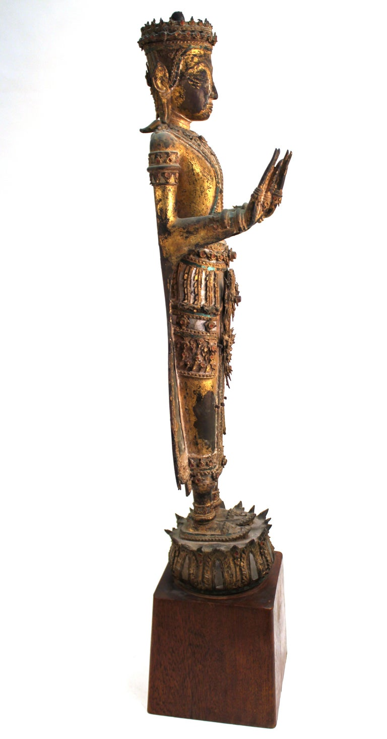 18th Century and Earlier Thai Gilded Mirrored Bronze Buddha Statue on Wooden Base For Sale