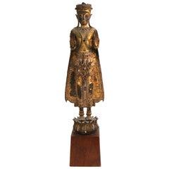 Thai Gilded Mirrored Bronze Buddha Statue on Wooden Base
