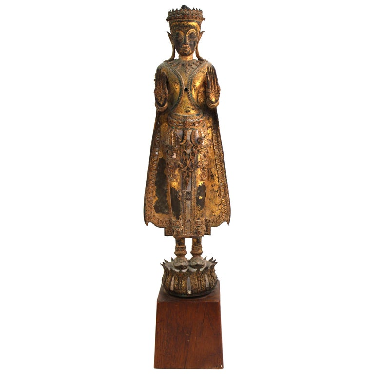Thai Gilded Mirrored Bronze Buddha Statue on Wooden Base For Sale