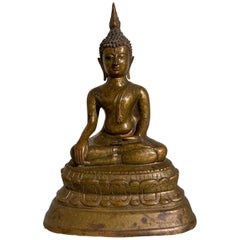 Thai Gilt Bronze Seated Buddha, Lan Na Kingdom, Chiang Mai, Late 15th Century
