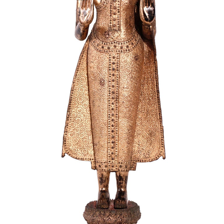 Thai Gilt Bronze Standing Buddha Figure, Late 19th Century For Sale 8