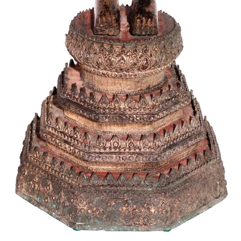 Thai Gilt Bronze Standing Buddha Figure, Late 19th Century For Sale 9