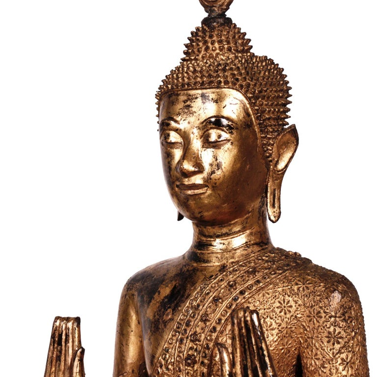 Thai Gilt Bronze Standing Buddha Figure, Late 19th Century For Sale 10