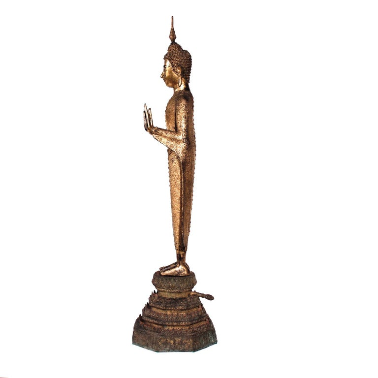 Thai Gilt Bronze Standing Buddha Figure, Late 19th Century In Good Condition For Sale In New York, NY