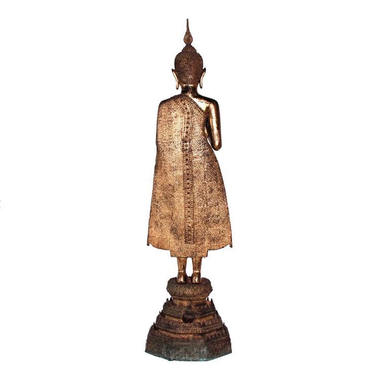 Thai Gilt Bronze Standing Buddha Figure, Late 19th Century For Sale 2