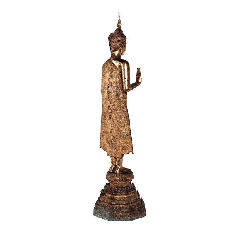 Thai Gilt Bronze Standing Buddha Figure, Late 19th Century For Sale 3