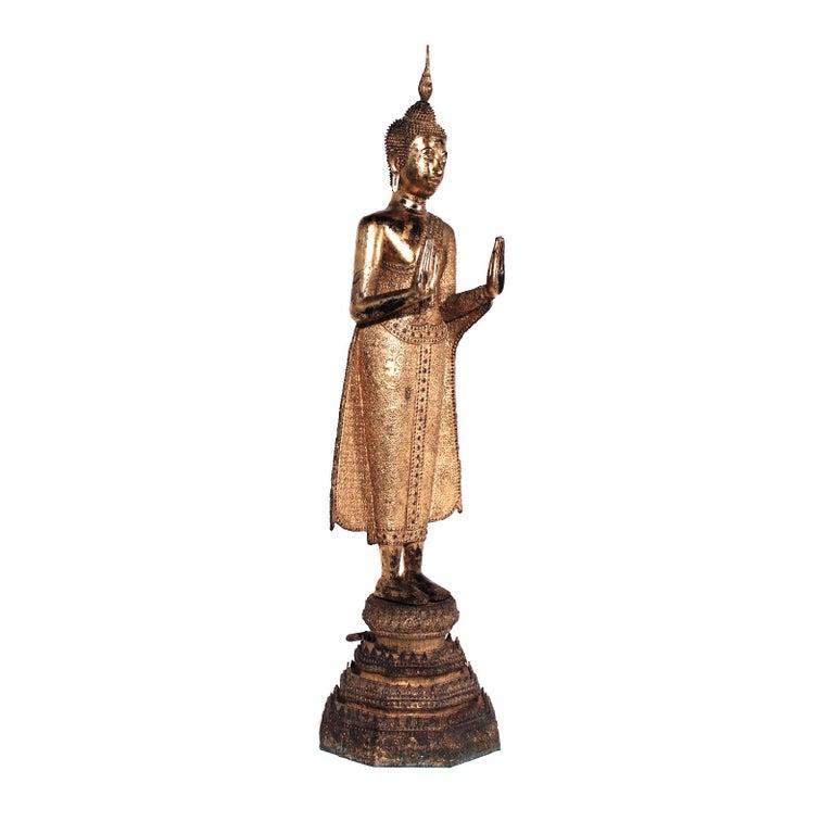 Thai Gilt Bronze Standing Buddha Figure, Late 19th Century For Sale 5