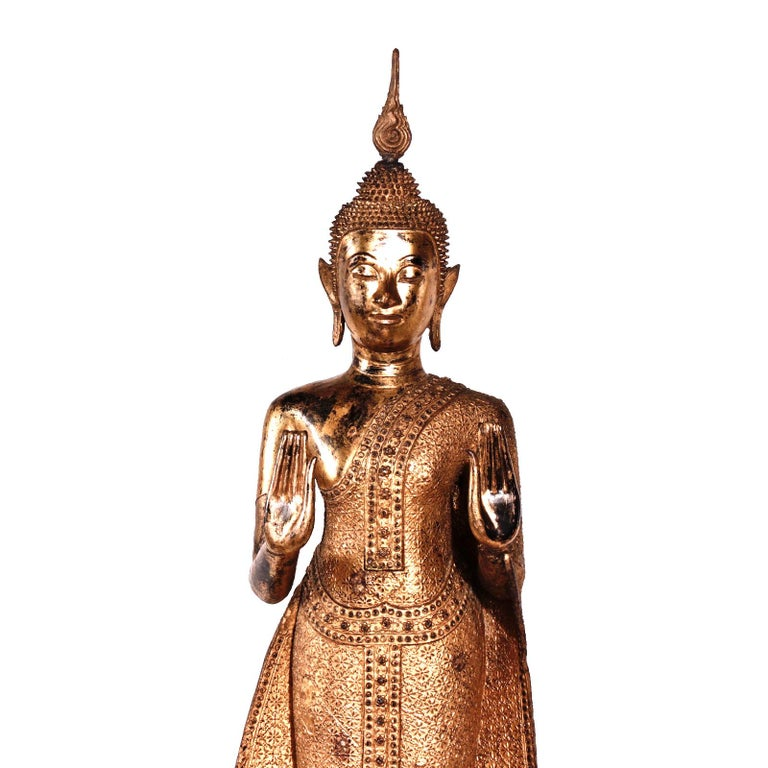 Thai Gilt Bronze Standing Buddha Figure, Late 19th Century For Sale 6