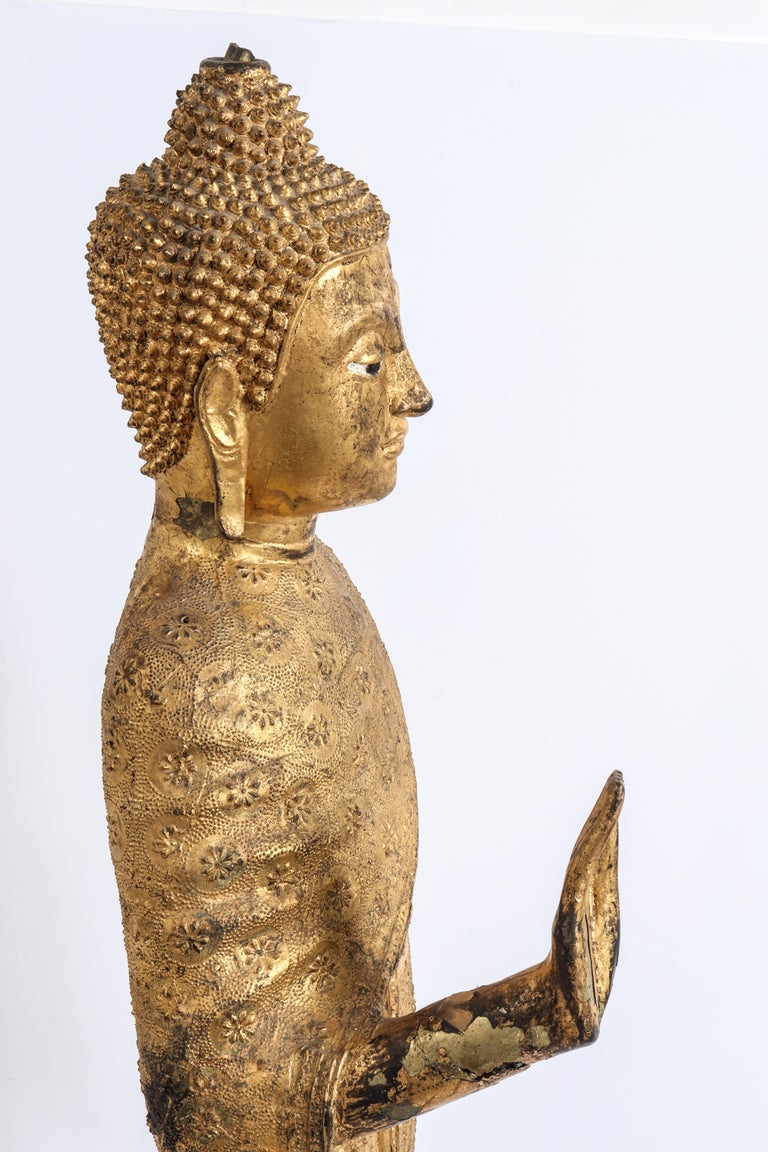 Thai Gilt Bronze Standing Buddha Sculpture For Sale 7