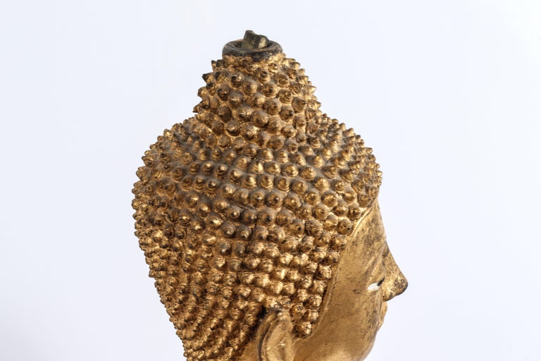 Thai Gilt Bronze Standing Buddha Sculpture In Good Condition For Sale In New York, NY