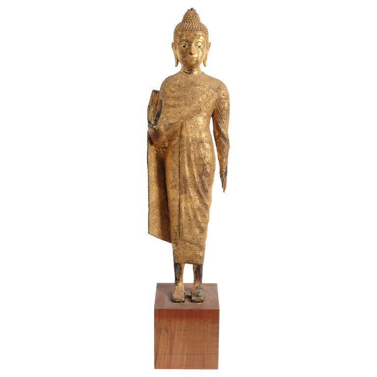 Thai Gilt Bronze Standing Buddha Sculpture For Sale
