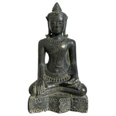 Thai Lopburi Cast Bronze Seated Buddha, 13th Century