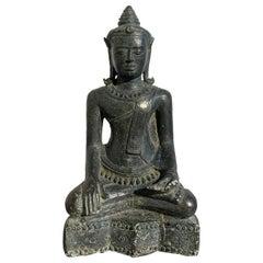 Thai Lopburi Cast Bronze Seated Buddha, 13th Century